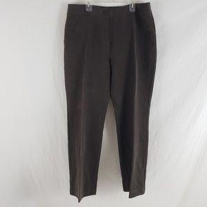 Chico's Trousers Silk Straight Leg Career Brown